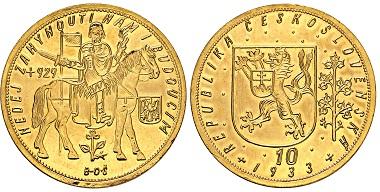 Nr. 4353: Tschechoslowakei. 10 Dukatu 1933. Taxe: 8.000 Euro.