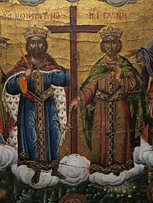 Detail from an icon with a depiction of the Last Judgement: Constantine and Helena. Photograph: KW.