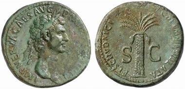 Nerva. Sesterz. FISCI IVDAICI - CALVMNIA SVBLATA / S-C Dattelpalme. RIC 82. Aus Auktion Numismatik Lanz 123 (2005), Nr. 542.