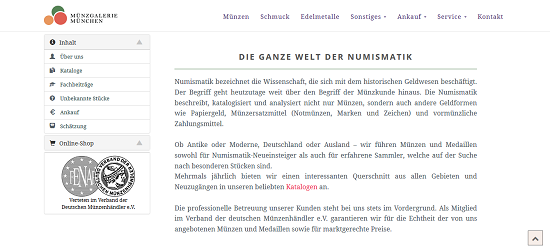 Die ganze Welt der Numismatik in der Münzgalerie München.