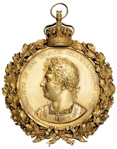 The unique accession medal made at the request of George IV.