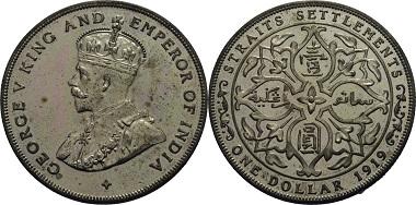 Silber Dollar 1919, Großbritannien - Malaysia George V. (1910-1936), Polierte Platte, 999,-.