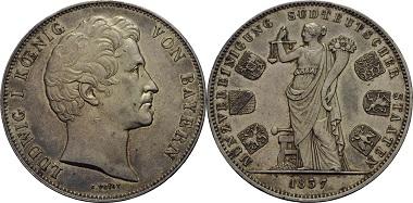 Vereinsdoppeltaler 1837, Königreich Bayern, Ludwig I. (1825-1848), 1.299,-.