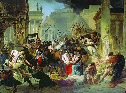 The sack of Rome by vandals led by their king Genseric in AD 455 (depicted in a highly imaginative picture from the 19th century here) demonstrates that the emperors could no longer protect Italy. Wealthy Romans were well advised to bury their coins and thus secure their fortune.