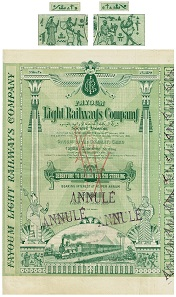 Fayoum Light Railways Company Société Anonyme. 4% GBP 20 Sterling Bearer Bond, Cairo, 1899, printed by Charles Skipper East. The symbols printed in the bond's upper and lower border look like hieroglyphs.