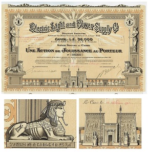 Electric Light and Power Supply Co. Société Anonymous, dividend share, Cairo, issued 1933. The inscriptions below both sphinxes are legible hieroghlyphs but those on the pylon, the temple gateway, are not.
