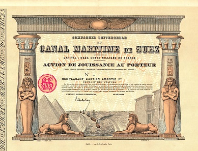 Compagnie Universelle du Canal Maritime de Suez, specimen dividend share, 1924. The Suez Canal connects the Mediterranean Sea to the Red Sea. The drawing of the share is made by James Pouchet, an engineer working for de Lesseps. Pouchet designed several buildings along the Suez Canal. (L'Illustration: Journal Universel, 16 Oct 1869).