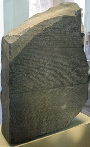 The Rosetta Stone in the British Museum. The three fragments of writing on it say the same thing in three different languages: Demotic, Ancient Greek and Ancient Egyptian (hieroglyphs). The text is a royal decree from the Hellenistic Period about the taxes of temple priests. Image: Olaf Herrmann, Wikimedia Commons.