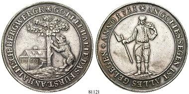 Altdeutschland. Anhalt-Bernburg. Victor Amadeus, 1656-1718. Taler 1711. Auf die Wiederaufnahme des Bergbaus im Birnbaumer Zuge bei Harzgerode. ss-vz. 5.250. Euro.