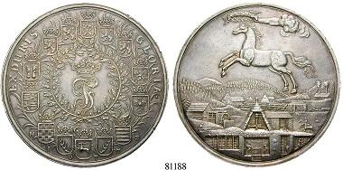 Altdeutschland. Braunschweig-Calenberg-Hannover. Johann Friedrich, 1665-1679. Löser zu 5 1/2 Reichstalern 1677, Clausthal. Ausbeute der Harzer Gruben. f. vz. 17.000 Euro.
