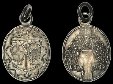 Lot 3007. Naval Reward, 1649, a small oval struck silver medal by T. Simon, shields of England and Ireland supported from the beam of an anchor, ropework around, mervisti. Extremely fine and toned, extremely rare, probably only six specimens known; with clip and ring for suspension GBP 2,400-3,000.