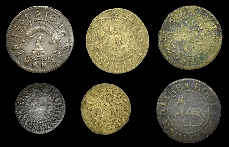 Lot 3217. City of London, Aldersgate Street, Roger Wallman, Halfpenny, [16]66; John Warner, Halfpenny, 1668 (very fine); Nicholas Warrin, Farthing; Thomas Wearg[e], Farthing, Halfpenny; John Wickins, Halfpenny [6]. From the Collection of Quentin Archer. About very fine and with 'river' patina, others generally about fine, several very rare. GBP 150-200.