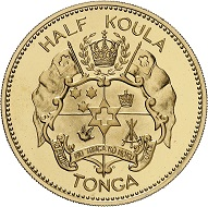 Salote Tupou III. 1/2 Koula 1962. Proof. Estimate: 600 EUR. From Künker auction 315 (11 October 2018), no. 7474.