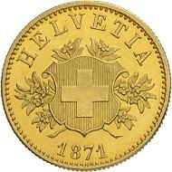 Lot 4316: Confederation. Pattern 20 francs 1871. Bern mint. Estimation: CHF 7'500,-