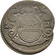 Lot 6542; Obwalden. Kreuzer 1726 with V-O.K. (Vnterwalden ob dem Kernwald) above the arms. Imitation of a kreuzer from Montfort. Only known specimen. Estimation: CHF 1'500,-