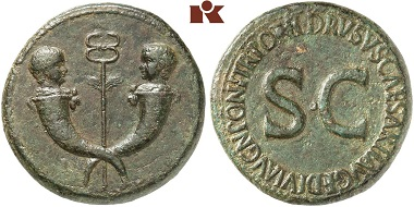Tiberius. Sestertius depicting Tiberius Gemellus and Germanicus. Both carry a bulla around their necks. From Künker auction 270 (2015), No. 8590.