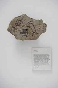Banksy (born 1974), Peckham Rock, UK, 2005. This object was secretly placed in a gallery at the British Museum by the artist in 2005 and was undiscovered for three days. © Banksy courtesy of Pest Control Office.