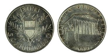 1 Schilling 1924, Silber. Foto: OeNB.