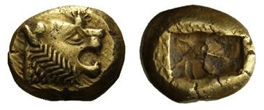Drittel-Stater (Trite), Lydien, König Alyattes, Elektron. Foto: OeNB.
