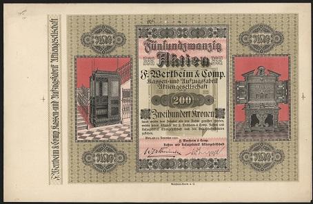 Fünfundzwanzig Aktien zu 200 Kronen, Fa. Wertheim & Comp., 1920. Foto: OeNB.