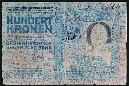 Fälschung der Banknote zu 100 Kronen 1910. Foto: OeNB.