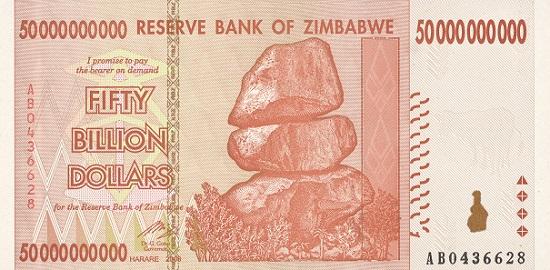 50.000.000.000 Dollar 2008, Simbabwe. Foto: OeNB.