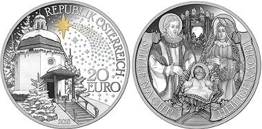 """Entwurf der neuen Münze """"Stille Nacht"""" der Münze Österreich. Der Clou: der Stern von Bethlehem leuchtet im Dunkeln nach. © Münze Österreich."""