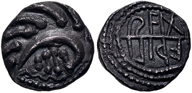 Lot 489: Anglo-Saxon, Primary Sceattas, circa 700-710. Sceatt. Aethiliraed Series (E), type 105. Mint in east Kent. VF, find patina. Estimate: $500.