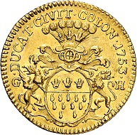City of Cologne. Ducat 1753. Nearly extremely fine. Estimate: 1,000 euros. From Künker auction 313 (October 9, 2018), no. 3766.