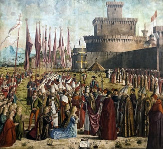 Ursula and Aetherius on their pilgrimage reach Rome and Pope Cyriacus. This part of the legend only became established during the 12th century. Vittorio Carpaccio, The Legend of Saint Ursula. Galleria dell'Academia / Venice. CC-BY 4.0