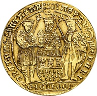 City of Cologne. Gold strike at 4 gold florins from the dies of the Dreikönigstaler [Three Magi taler], no year (around 1620). Extremely rare. Very fine. Estimate: 50,000 euros. From Künker auction 313 (October 9, 2018), No. 3724.