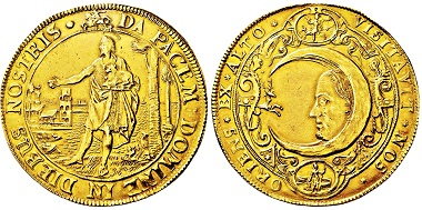 Lüneburg. 10 ducats n.d. (around 1620) off-metal strike in gold of a jagdtaler. From Auction Gerhard Hirsch Nachfolger 333 (September 21, 2017), Lot 3192. Unique. Very fine-extremely fine. Estimate: 50,000 euros. Price realized: 110,000 euros.