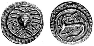 Wodan-head sceat, Denmark, c.AD 710-740, Series X, type 31. Found in Essex, 1997. Source: Chris Rudd.