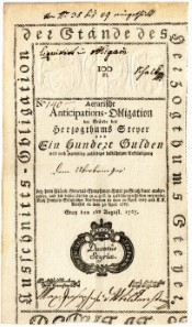 Lot 5273. Aerarische Anticipations- & Domestical-Obligation at 100 guldens from the duchy of Steyer 1767, and Lot 5274. Wiener Stadtbanco 10 guldens 1784.
