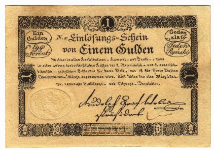 Lot 5282. Einlösungsschein at 1 gulden 1811, and Lot 5283. Anticipationsschein at 2 guldens 1813.