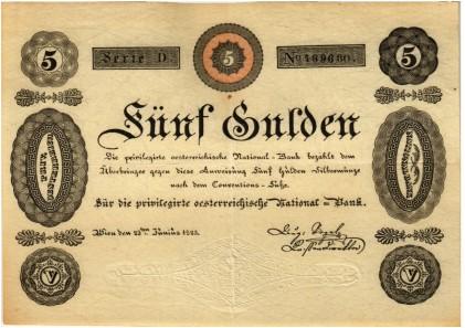 """Los 5284. """"Privilegirte Österreichische Nationalbank"""", 5 Gulden 1825."""