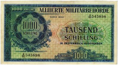 Los 5342. Alliierte Militärbehörde, 1000 Schilling 1944.