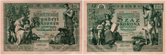 Los 5310. Österreichisch-Ungarische Bank, 100 Gulden/Forint 1880 // Los 5314. 100 Kronen/Korona 1902.