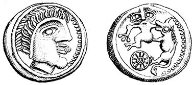 Odin with an eye in his mouth, Fenrir with Tyr's arm in his jaws? Cast potin of the Suessiones, c.60-30 BC, LT 9194. Was Odin's Eye copied from it? Both coins have a spoked sun-wheel. Source: H.de La Tour, Atlas de monnaies gauloises, 1892.