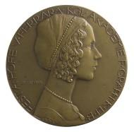 """Medal on the """"Feast dedicated to the at the court of Ferrara"""" organized by the Königliche Akademie für Grafik und Buchkunst Leipzig 1912."""