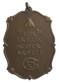 Award for laboriousness and loyalty by the Company Gebrüder Heine in Leipzig 1922.