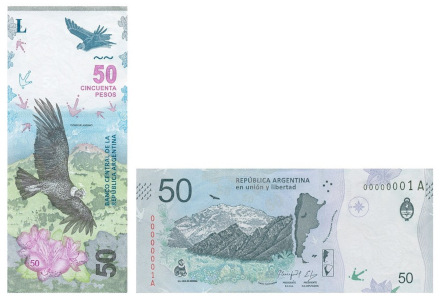 The new banknote features the condor which is indigenous to the Andes Mountains. Photo: Banco Central de la Republica Argentina.