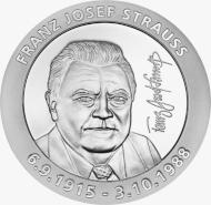 """Die Gedenkmedaille """"Franz Josef Strauß"""" in Spiegelglanz (Ag 999 / 45g / 45mm) erinnert an den 30. Todestag des ehemaligen bayerischen Ministerpräsidenten."""