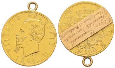 Nr. 1745: Münze mit handschriftlichem Hinweis, dass der Sammler sie als Geschenk des Münzen sammelnden Königs Vittorio Emanuele III. erhielt. Taxe: 1.000,- Euro.