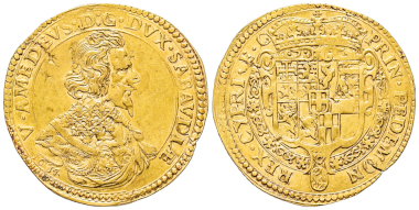 No. 1527 – Victor Amadeus I, 1630-1637. Quadrupla, type III, Turin, 1634. Extremely rare. Very fine + / Extremely fine. Estimate: 50,000 euros.