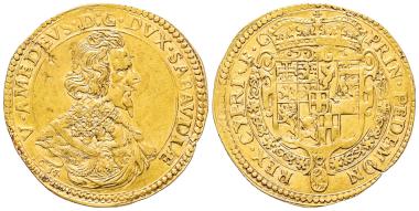 Nr. 1527: Vittorio Amedeo I., 1630-1637. Quadrupla, Typ III, Turin, 1634. Äußerst selten. Gutes sehr schön / Vorzüglich. Taxe: 50.000,- Euro.