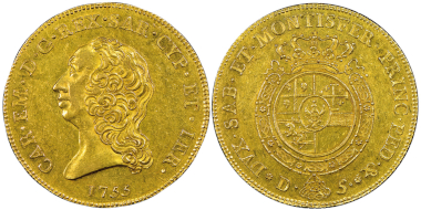 No. 1590 – Charles Emmanuel III, second period 1755-1773. Carlino da 5 doppie, Turin, 1755. Very rare. NGC AU58. Estimate: 40,000 euros.