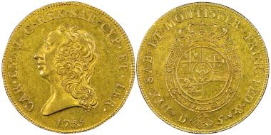 Nr. 1590: Carlo Emanuele III., zweite Periode 1755-1773. Carlino da 5 Doppie, Turin, 1755. Sehr selten. NGC AU58. Taxe: 40.000,- Euro.