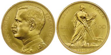 Nr. 1759: Vittorio Emanuele III., 1900-1943. Probe zu 100 Lire, Rom, 1910. Äußerst selten. NGC PROOF 66. Taxe: 150.000,- Euro.