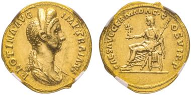 Nr. 92: Plotina, 105-122. Aureus, 112-115. Sehr selten. NGC AU 5/5 - 3/5. Taxe: 20.000,- Euro.